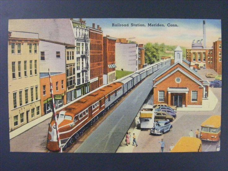 Meriden Connecticut CT Railroad Train Station Vintage Linen Postcard 1949