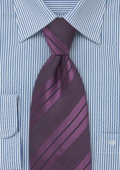Dark Eggplant Purple Striped Tie