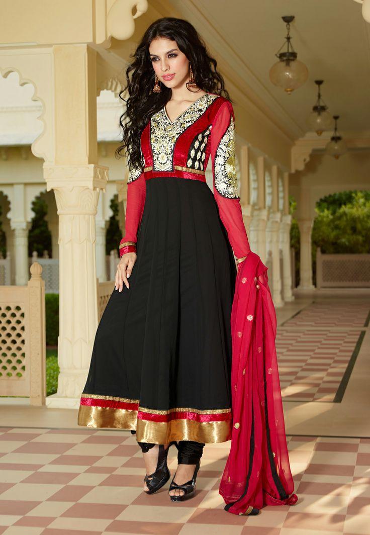 Red and Black Faux Georgette Anarkali Churidar Kameez @ $93.75