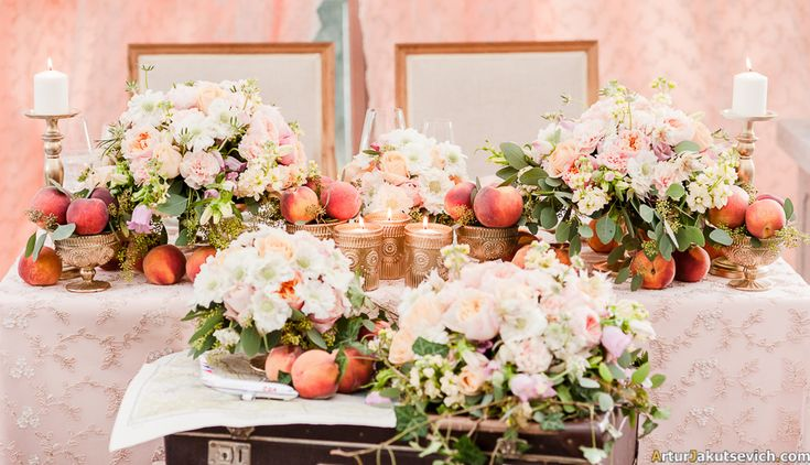Wedding Flower centerpieces with peaches