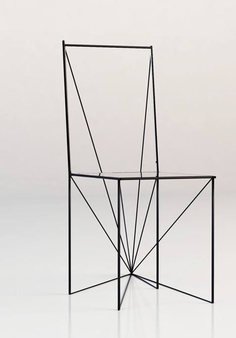 How many triangles are there in this drawing of a chair?