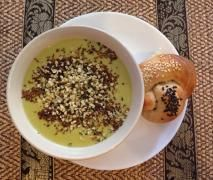 Potato, Leek and Kale Soup with Haloumi
