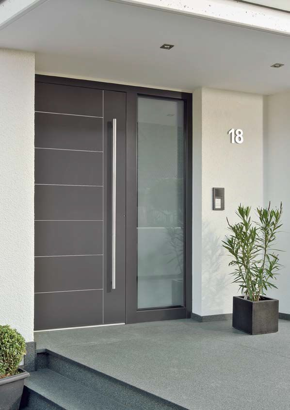 Swing entry door / wood / acoustic / semi-glazed - WL1 DUOLINE - egoKiefer