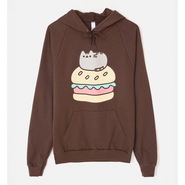 Burger Pusheen unisex hoodie ($45) ❤ liked on Polyvore featuring tops, hoodies, hooded sweatshirt, brown hoodie, brown tops, unisex hoodies and hoodie top