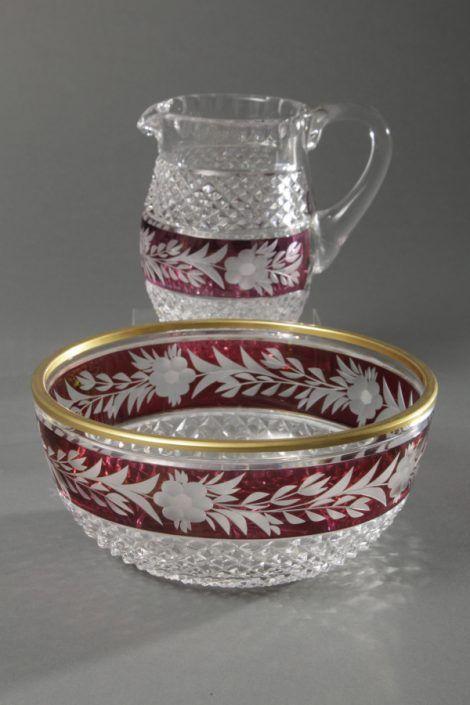 Schale und Krug, Kristallglas, Schale mit Goldrand