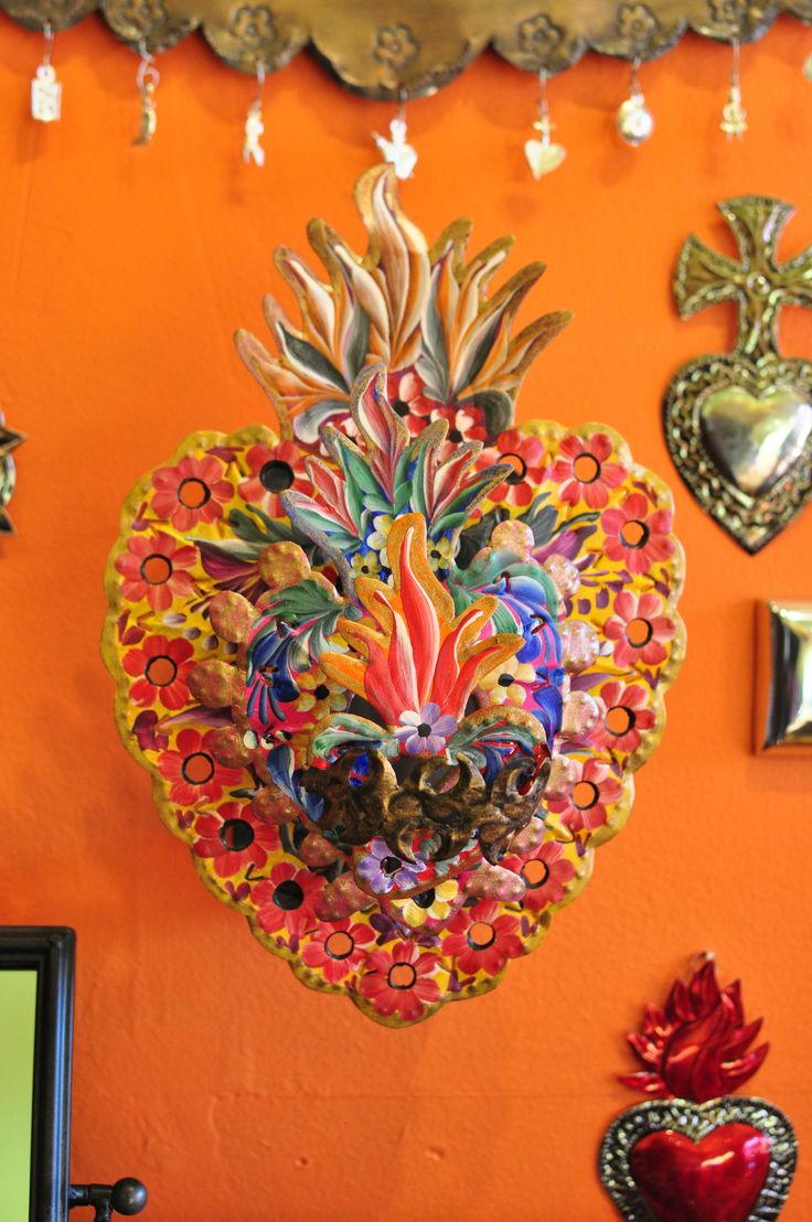 Flaming Heart Mexican Folkloric Wall Décor