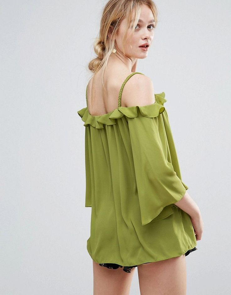 Traffic People Bardot Top With Frill Detail - Green