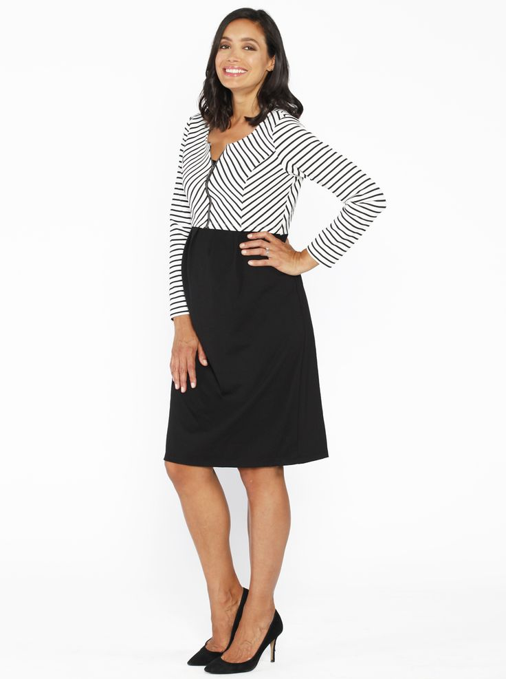 Stripe Work Dress with Zipper Details in Black, $59.95, is a beautiful dress made with soft thick fabric, perfect for the cooler months.