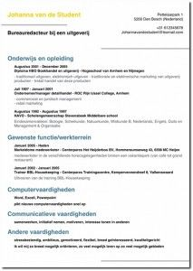 generate a looking pdf cv with giga cv voorbeeld cv