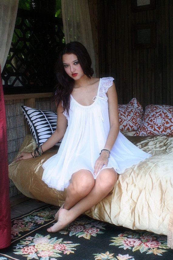 Baby Doll Nightgown In The Shadows Of Moonlight  Bridal Sleepwear Lingerie Wedding Honeymoon  Gown Fast Ship