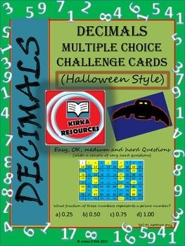 Halloween Math: Halloween Decimals - Halloween Math Stations - Halloween Mathematics - Halloween Resource - Halloween  Flash Cards - Halloween Style Cards.Decimals Challenge Cards (3-6)88 Decimal challenge cards (Version 2)  - 1 multiple choice challenge per card   - 4 cards per A4 sheet  - Designed specifically to print and laminate in color/ colour  - 24 page resourceDecimals, decimals, and more decimals!!These high quality printable decimal cards are a great resource for revising…