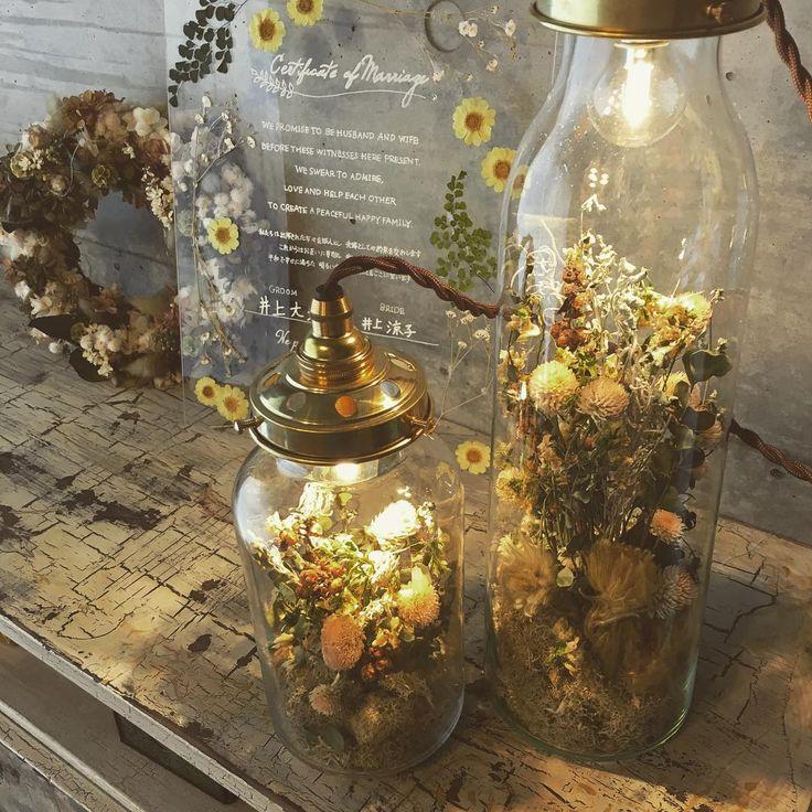 アフターブーケの最新版*ガラス瓶の中にお花とライトを閉じ込める〔ボトルライト〕が可愛すぎ♡   marry[マリー]