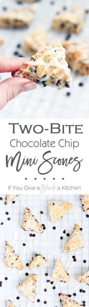 These two-bite chocolate chip mini scones are little morsels for any time of day—breakfast, afternoon tea, or dessert. They are the perfect pick-me-up you can enjoy in just two bites! | Recipe by @If You Give a Blonde a Kitchen