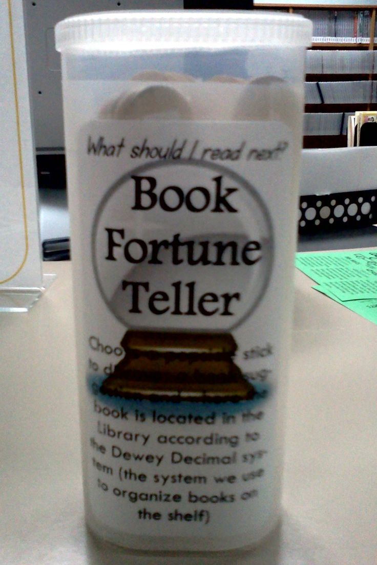 """Book Fortune Teller (Crystal Light container plus popsicle sticks) Kids pull a stick which tells them a call number range and the subject, like """"a book about dogs."""" They learn basic Dewey and like the """"fortune telling"""" aspect. I'd do this just to find something new to read."""