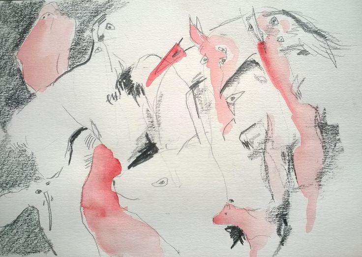 Imaginace II akvarel, tužka, papír