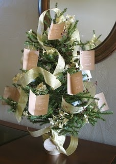 "DIY Blessing Christmas Tree... take a small potted tree, make some little tags with blessings on it - ""may you be blessed with peace"" etc... hang on tree, add some ribbon and give as a gift or display it."