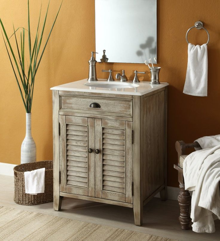adelina 26 inch antique sink bathroom vanity plantation inspired look of this cottage - Bathroom Cabinets Small Spaces