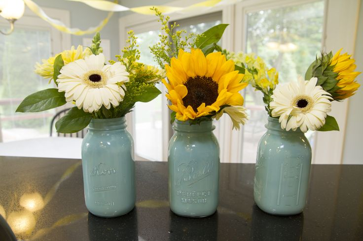 You Are My Sunshine Baby Shower - Painted Mason Jars with Sunflowers and Gerber Daisies