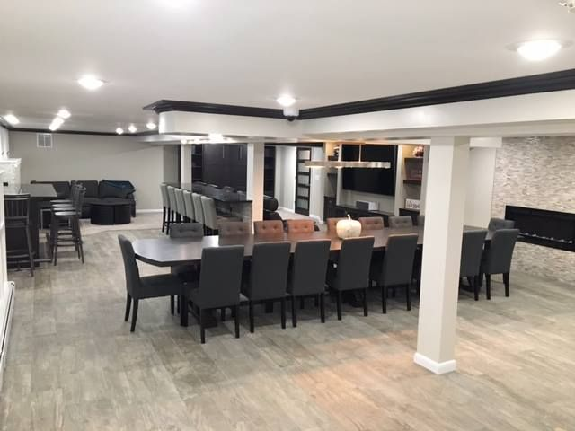 Contemporary Basement Residential Interior Design Custom Dining Tables Bars For Home