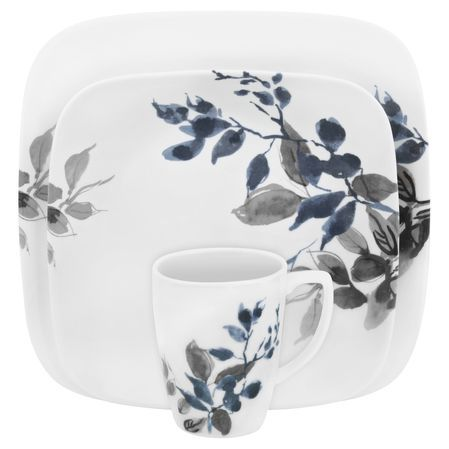 #Corelle Boutique™ Kyoto Night 16-Pc Dinnerware Set - Our sophisticated Kyoto Leaves pattern becomes transformed by shadowy hues of indigo and gray. Inspired by the textures of a Japanese garden, Kyoto Night is both enchanting and elegant. // click to buy