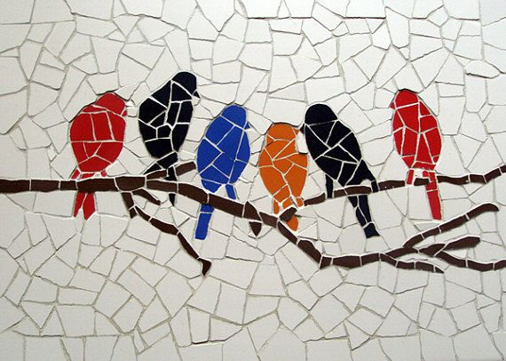 Birds meeting  Unique handmade tiles mosaic by MosaicsDesign, €120.00