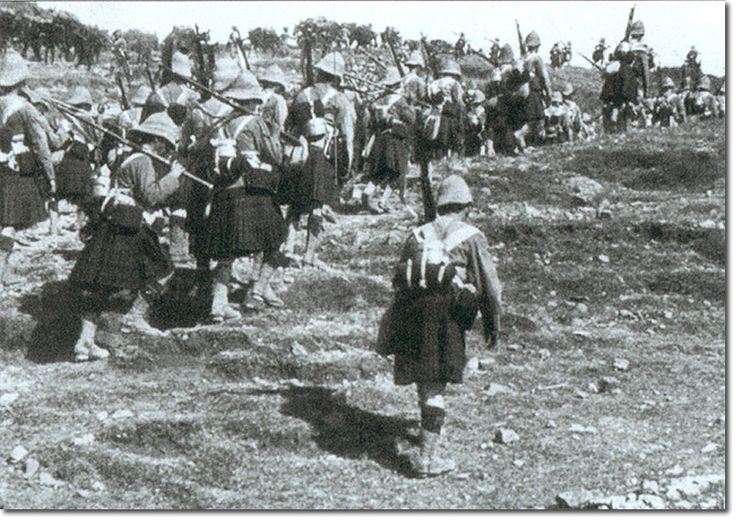Gordon Highlanders moving forward. The Gordons moving into position for the assault on the Heights. They are carrying their rolled greatcoat, mess tins and waterrbottle but no valise. Dargai, 18th Oct 1897.