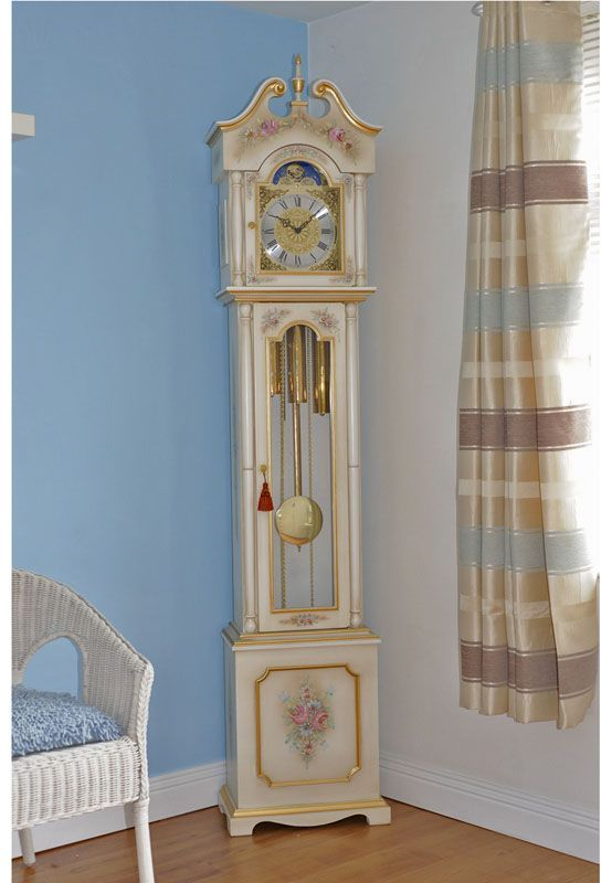 this modern clock is finished in white antico with gold and with swan neck pediment with finial crystal glass door shabby chic wall