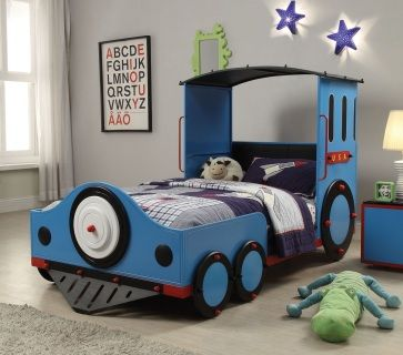 Blue Train Bed. Theme bed has a rich blue, black and red finish. Features a overhead roof.  This is the perfect bed for your children to play and sleep.