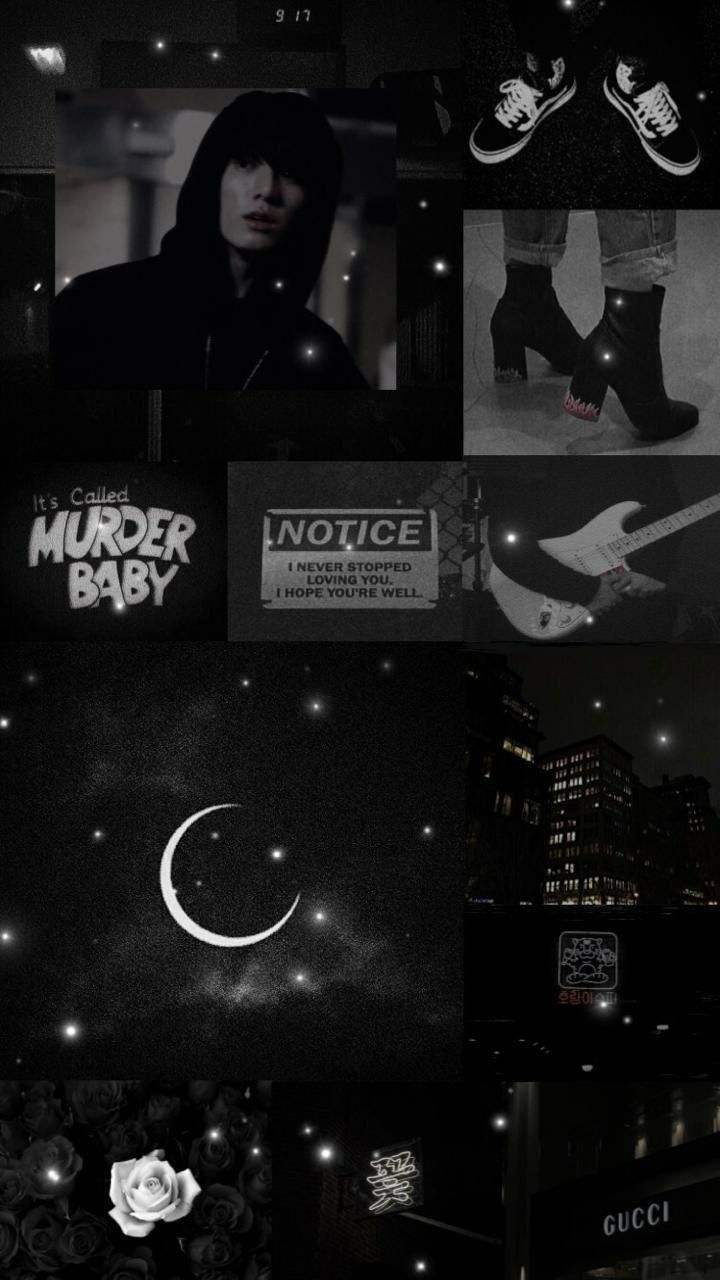Jungkook Black Aesthetic Wallpaper / Credits to Twitter