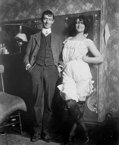 Norman Lindsay Australian artist & Rose Soady, artist's model and eventually Lindsay's wife.  Bond Street Studio 1909