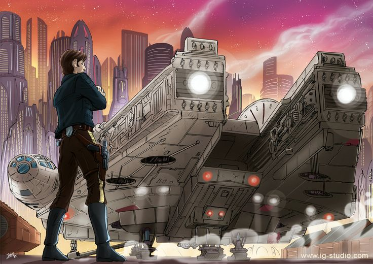 "ivangarciaillustration: ""  May The Fourth be with you! Happy Star Wars day! Han Solo and The Millennium Falcon prints © Iván García Pencils, markers and digital. Signed prints, martelec paper 240 gr. 3 Sizes: - 148 x 210 mm (A5) - 297x210 mm (A4) -..."