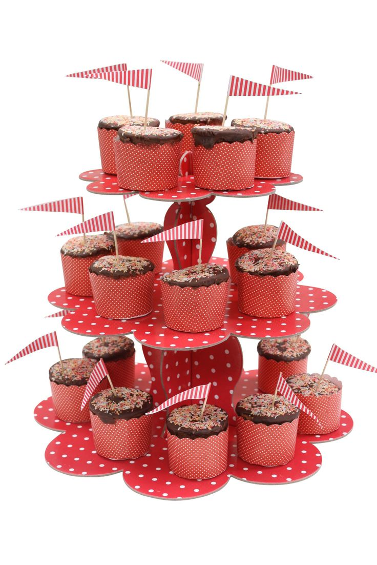 1 Cardboard Cupcake Stand, Red Polka-dot - Included in our Deluxe pack only $159 - Strawberry-fizz.com.au