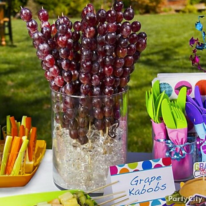 Grape kabobs. Great for a summer party with kids.