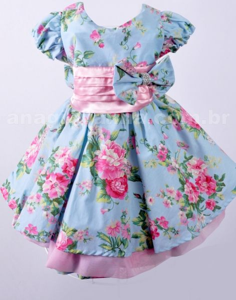 Vestido Infantil de Festa Baby Azul Floral