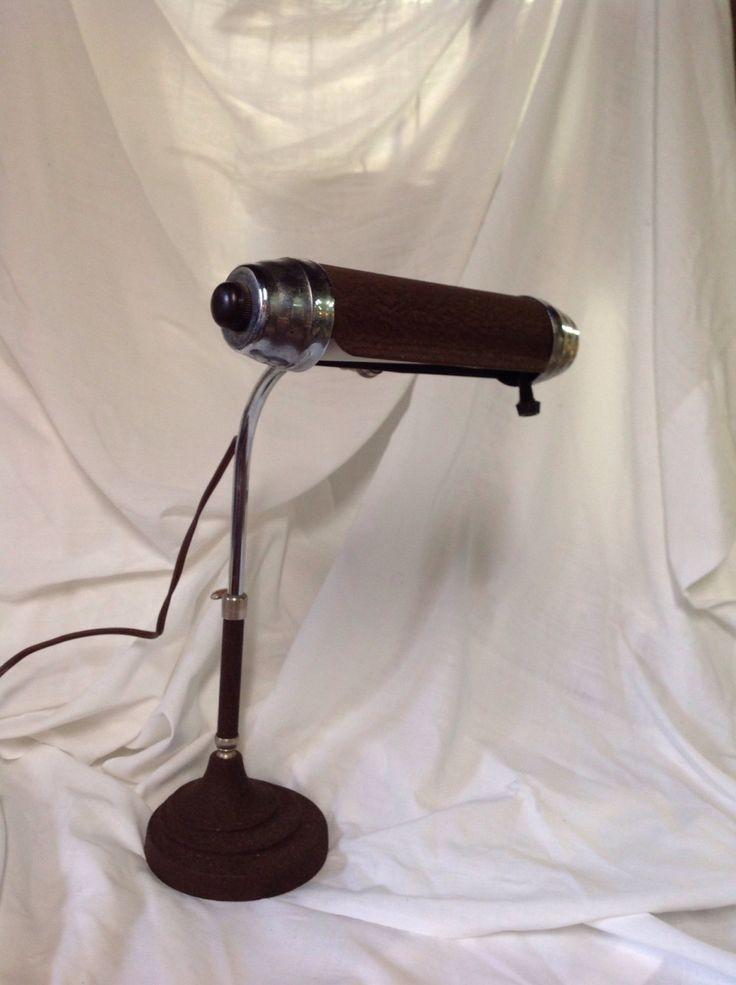 Vintage desk lamp, steampunk desk lamp, industrial desk lamp, bankers desk lamp, piano lamp by willowcreekinteriors on Etsy