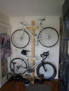 Functional Indoor Bike Storage Ideas Using Bookshelves : Small Garage Indoor Bike Storage Ideas Wooden Case