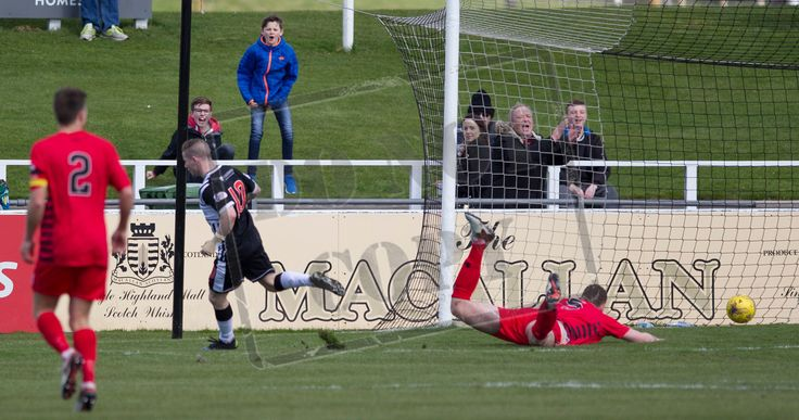Elgin City's Marc McKenzie opens the scoring during the SPFL League Two game between Elgin City and Queen's Park.