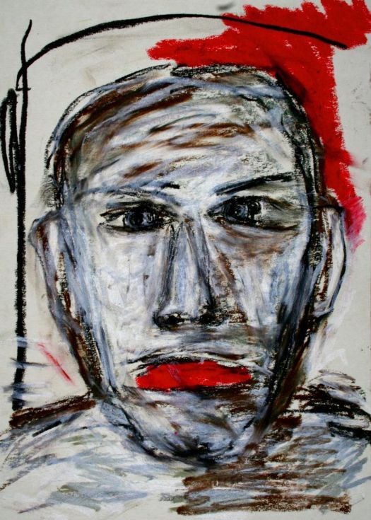 Face, Oil pastel drawing by Lopéz García  One of García's great strenghts is color. He deserves a lot of attention for his manipulation of color. Color holds his drawing together and helps express inner feelings of the artist at the same time. Furthermore, dramatic strokes help him express emotion and add a feeling of movement to his works.  Oil pastels on a good quality paper (400 g/m2), 25 x 35 cm