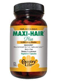Maxi-Hair Plus 5000 Mcg Biotin by Country Life - Buy Maxi-Hair Plus 5000 Mcg Biotin 120 Veggie Caps at vitamin shoppe