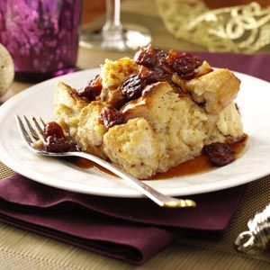 White Chocolate Bread Pudding with Tart Cherry Sauce Recipe from Taste of HomeSauces Recipe, Chocolates Breads Puddings, Tarts Cherries, White Chocolates, Sauce Recipes, Puddings Recipe, Bread Puddings, Cherries Sauces, Bananas Breads