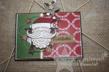Weihnachtskarte mit Stampin'UP! DESIGNERPAPIER: Festlich geschmückt STEMPELSET: Santa Stache & Wünsche zum Fest Stampin'Up! Herbstwinterkatalog 2014/ 2015