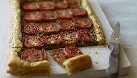 Tomato tart.  Bake on cookie sheet to help crisp up base.