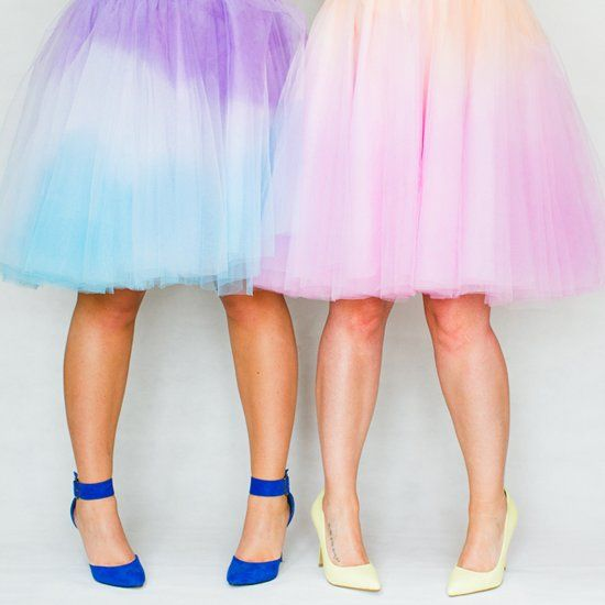 Learn how to create your own two tone ombre tulle skirt.