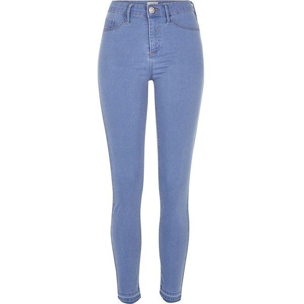 River Island Mid blue wash raw hem Molly jeggings ($58) ❤ liked on Polyvore featuring pants, leggings, jeans, tall jeggings, denim leggings, blue jeggings, skinny jean leggings and skinny leggings