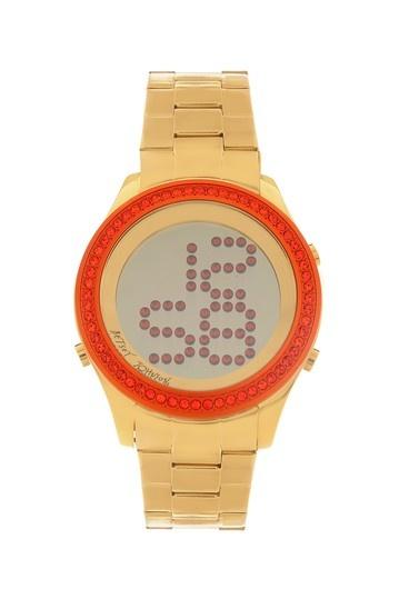 Orange Crystal Embellished Gold-Tone Digital Watch