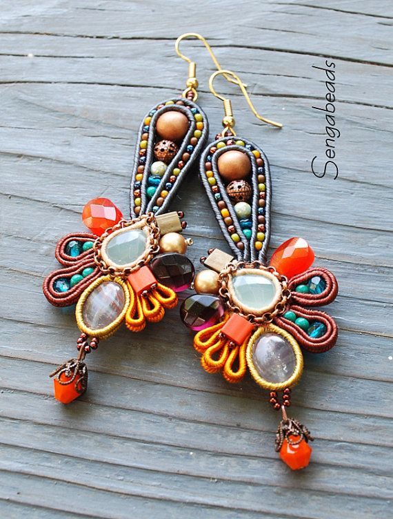 Soutache earrings with the colours of autumn by Sengabeads on Etsy 90 $