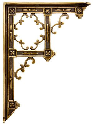 "Victorian Gothic Cast Brass Shelf Bracket in Antique-by-Hand - 9 1/4 x 6 3/4"" | House of Antique Hardware"