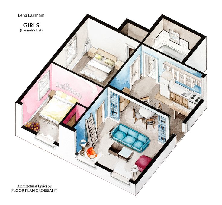 Watercolor isometric floor plan of Hannah Horvath's apartment in HBO show Girls. More here: https://www.facebook.com/FPlanCroissant