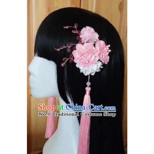 Traditional Chinese Black Wigs and Hair Flowers for Women Buy Wigs... ❤ liked on Polyvore featuring accessories