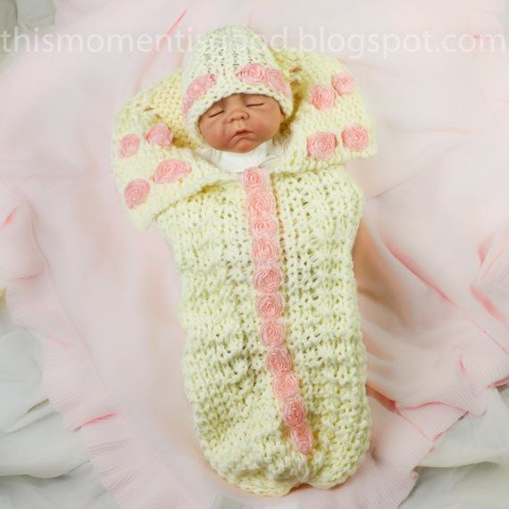 Loom Knit Newborn Cocoon with Roses PATTERN; Plus coordinating hat in?